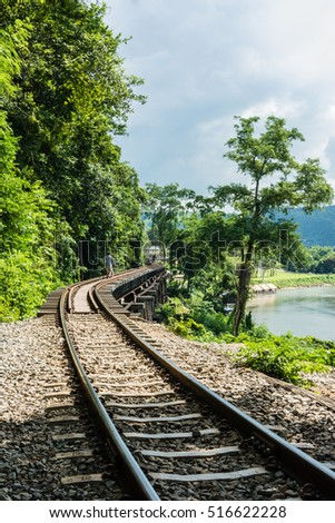 KANCHANABURI, TH - NOVEMBER 13: The River Kwai when seen from the train. Line Railway World War 2 The place was recorded in world history. November 13, 2016 in Kanchanaburi, TH