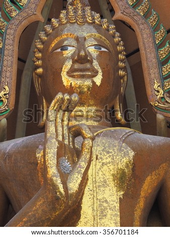 KANCHANABURI ,THAILAND - December 27 :  masterpiece of traditional Thai style molded art old about Angel at Wat Tum Sua on DECEMBER 27, 2015 in Kanchanaburi, Thailand