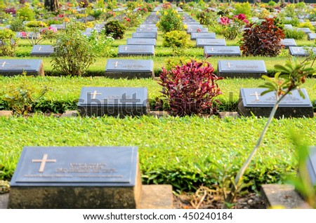 Kanchanaburi War Cemetery (Don Rak) is the historical monuments of allied prisoners of the World War II who died during the construction of the Death Railway in Kanchanaburi Province, Thailand