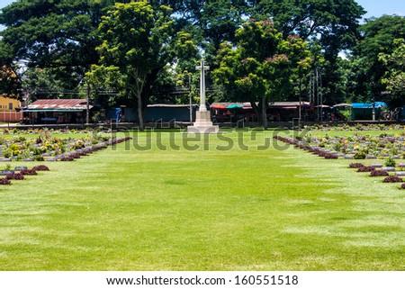 Kanchanaburi War Cemetery, Thailand - stock photo