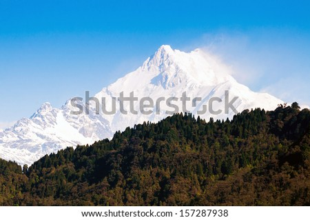Kanchenjunga Mountain range of the himalayas at Sikkim , India - stock photo