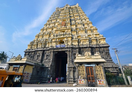 KANCHIPURAM, INDIA â?? FEBRUARY 8 2015: Ekambareswarar temple is a Hindu temple that was built around 600 AD. The gate tower of the temple is 59 meters high. - stock photo