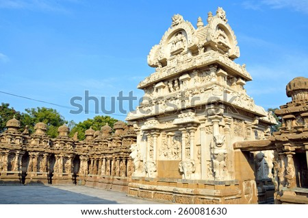 KANCHIPURAM, INDIA  FEBRUARY 8 2015: Kailasanathar temple is a Hindu temple in the Dravidian architectural style. It was built from 685 to 705 and is the oldest structure in Kanchipuram. - stock photo