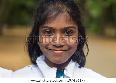 KANDY, SRI LANKA - FEBRUARY 26, 2014: Portrait of student from Girl's High School, the oldest school for girls in Kandy, Sri Lanka.