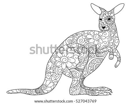 Kangaroo Animal Coloring Book For Adults Raster Illustration Anti Stress Adult