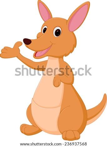Kangaroo cartoon presenting  - stock photo