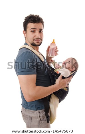 Kangaroo Dad with milk bottle and baby - stock photo