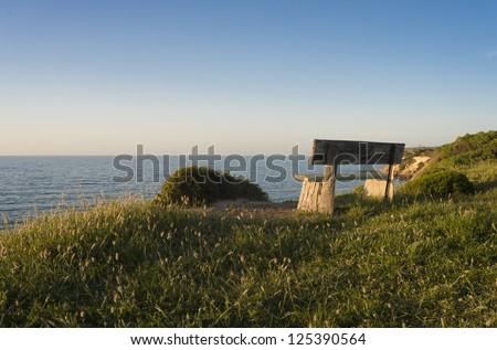 Kangaroo Island Coast Park Bench - stock photo