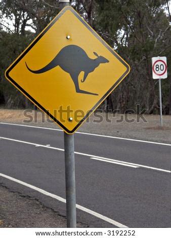 Kangaroo Roadsign - stock photo