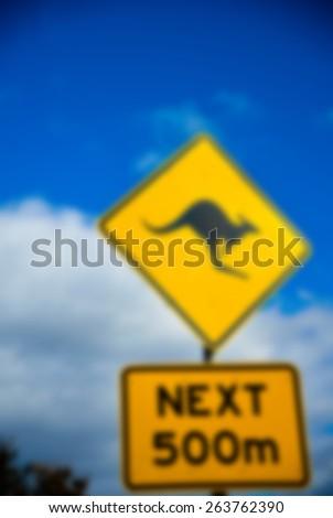 Kangaroo Sign in blur style - stock photo