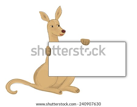 kangaroo with board - stock photo
