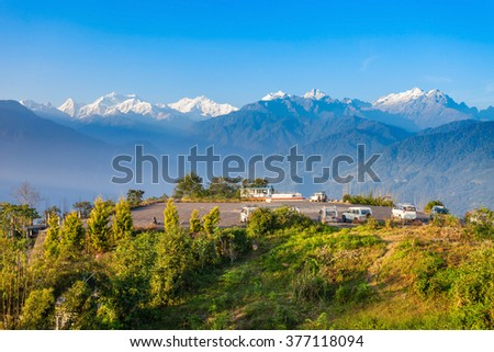 Kangchenjunga viewpoint in Pelling in West Sikkim, India - stock photo
