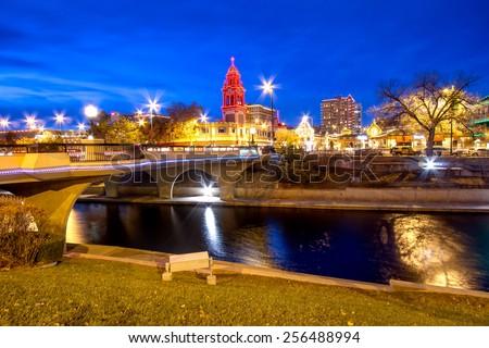 Kansas City Country Club Plaza area during Christmas - stock photo