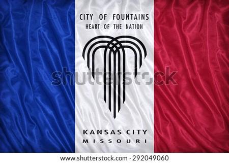 Kansas City ,Missouri flag pattern on the fabric texture ,vintage style - stock photo