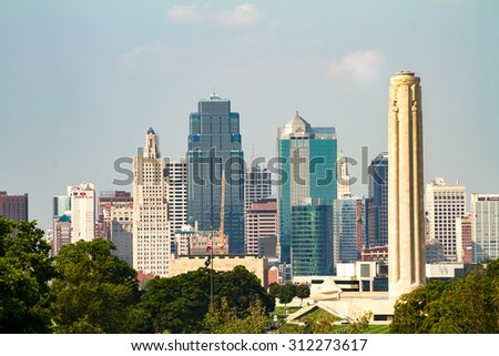 Kansas City, Missouri, USA on Sept 1st, 2015.  A view of the Kansas City, Missouri skyline