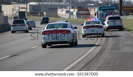 Kansas City, MO - March 26, 2015: Emergency Vehicles on an Accident