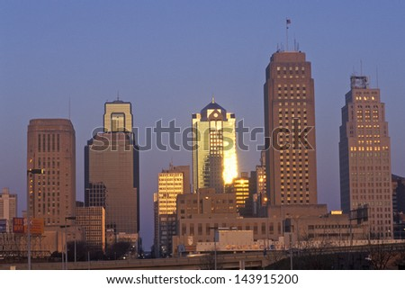 Kansas City skyline at sunrise, MO - stock photo