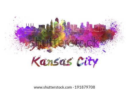 Kansas City skyline in watercolor splatters with clipping path - stock photo