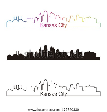 Kansas City skyline linear style with rainbow - stock photo