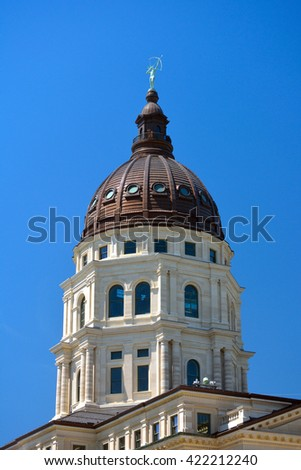 Kansas State Capitol Building Dome on a Sunny Day - stock photo