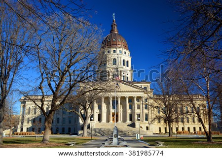 Kansas State Capitol Building in Winter - stock photo