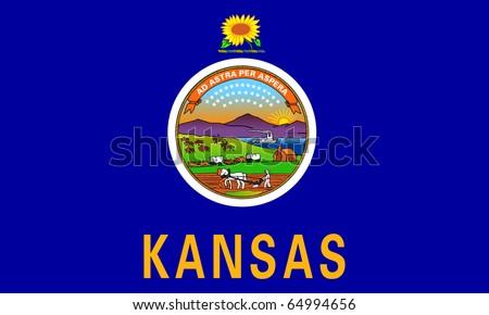 Kansas state flag of America, isolated on white background. - stock photo