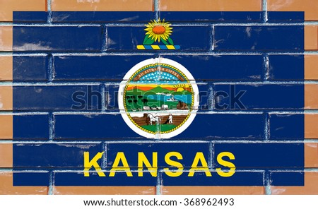 kansas state flag america on brick stock illustration 368962493