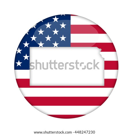 Kansas state of America badge isolated on a white background. - stock photo