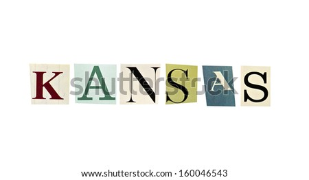 Kansas word formed with magazine letters on a white background