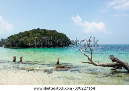 Kanumera Bay on the Isle of Pines in New Caledonia - stock photo