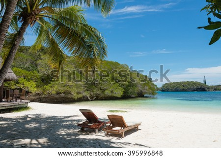 Kanumera Beach on the Isle of Pines in New Caledonia. The bay is known as one of the most beautiful bays in the world. - stock photo