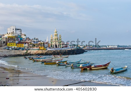 KANYAKUMARI, INDIA - OCT 14, 2014:View at town. Formerly known as Cape Comorin, is a town in Kanyakumari District in the state of Tamil Nadu in India.  - stock photo