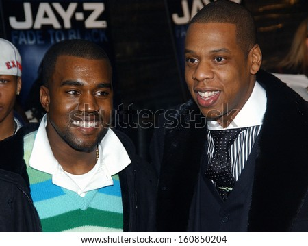 Kanye West and Jay Z at the world premiere of JAY-Z'S FADE TO BLACK at the The Ziegfeld theater on November 5, 2004 in New York - stock photo