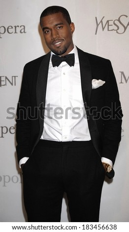 Kanye West at The Metropolitan Opera 125th Anniversary Gala, Metropolitan Opera House at Lincoln Center, New York, NY March 15, 2009  - stock photo