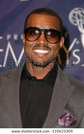 Kanye West in the press room at the 59th Annual Primetime Emmy Awards. The Shrine Auditorium, Los Angeles, CA. 09-16-07 - stock photo