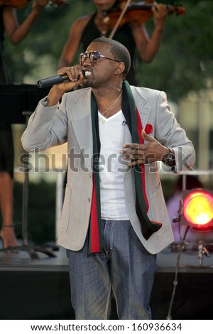 Kanye West on stage for ABC Good Morning America Summer Concert, Lincoln Center, New York, NY, September 02, 2005 - stock photo