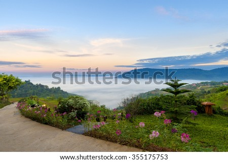 KAO KHO MOUNTAIN THAILAND-24 December 2015 : Beautiful view of the popular tourist attraction morning at Khao Kho Mountain district. Phetchabun province, Thailand.