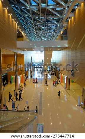 KAOHSIUNG, TAIWAN -- APRIL 18, 2015: An interior view of the Kaohsiung Exhibition Center during the 2015 Industrial Automation Expo. - stock photo