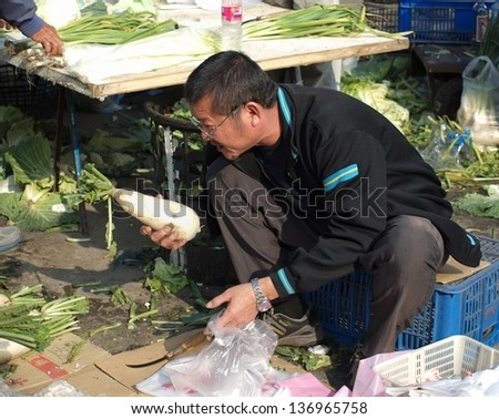 KAOHSIUNG, TAIWAN - FEBRUARY 9: An unidentified shopper carefully chooses white giant radishes at an outdoor market on February 9, 2013 in Kaohsiung.