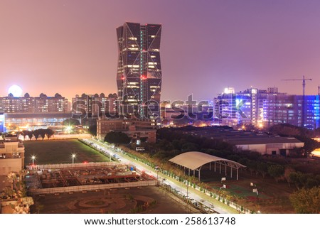 Kaohsiung, Taiwan - February 26,2015: China Steel Corporation Headquarters in Kaohsiung, Taiwan, at sunset.