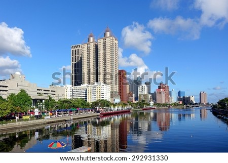KAOHSIUNG, TAIWAN -- JUNE 17, 2015: View of the Love River on a clear day with the lanes in the river marked out for the Dragon Boat Races.  - stock photo