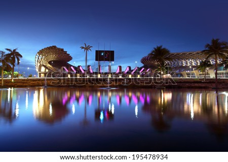 Kaohsiung, Taiwan - May 11, 2014: National Stadium, is a multi-purpose stadium in Zuoying District, Kaohsiung, Taiwan. It is currently the largest stadium in Taiwan in terms of capacity.