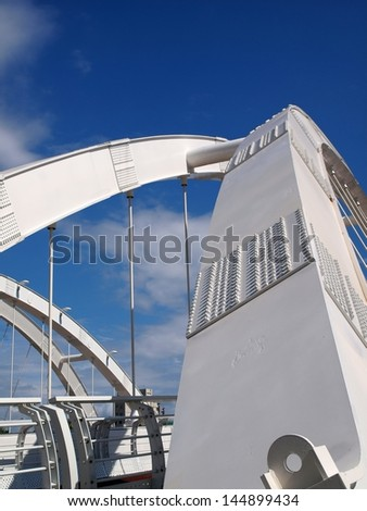 KAOHSIUNG, TAIWAN - MAY 7:  The new Zhong Du Bridge has become an attractive landmark as part of the Kaohsiung City Love River redevelopment project on May 7, 2013 in Kaohsiung .