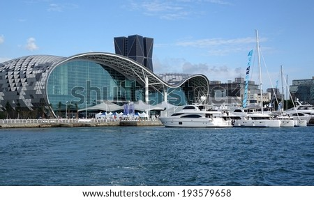 KAOHSIUNG, TAIWAN -- MAY 11, 2014: The newly opened Kaohsiung Exhibition Center during the 2014 Taiwan International Boat Show. - stock photo