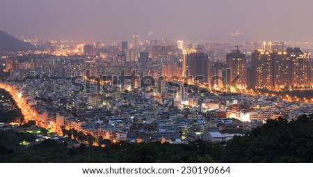 Kaohsiung, Taiwan - November 7, 2014:Kaohsiung skyline at night as seen from the Monkey Mountain,Shoushan - Taiwan