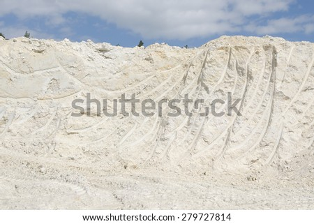 Kaolin excavation for ceramics and paper industry - stock photo