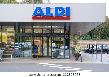 KAPELLEN, BELGIUM - OCTOBER 20: Branch of a ALDI supermarket. Aldi is a leading global discount supermarket chain Based in Germany. Taken on October 20, 2015 in Flanders, Belgium