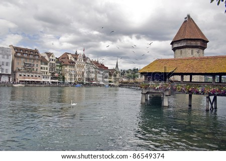 Kaplick bridge in Lucerne on the Reus River - was built in the first half of the 14th century