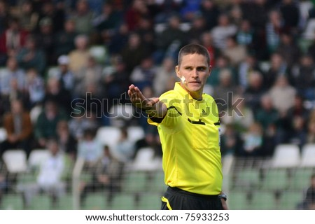 KAPOSVAR, HUNGARY - APRIL 16: Sandor Ando-Szabo (referee) in action at a Hungarian National Championship soccer game - Kaposvar vs MTK Budapest on April 16, 2011 in Kaposvar, Hungary.