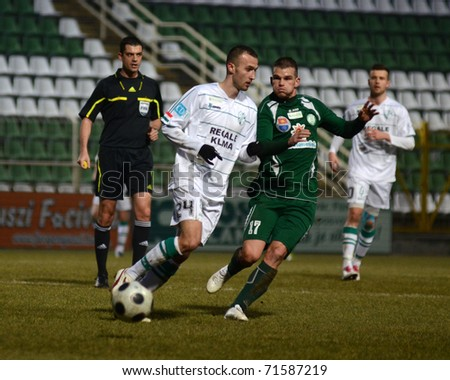 KAPOSVAR, HUNGARY - FEBRUARY 16: David Hegedus (24) in action at a Hungarian National Cup soccer game Kaposvar vs Paks February 16, 2011 in Kaposvar, Hungary.